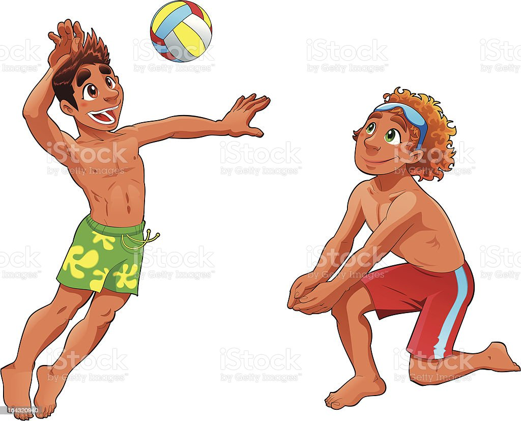 Beach Volley guys. royalty-free stock vector art