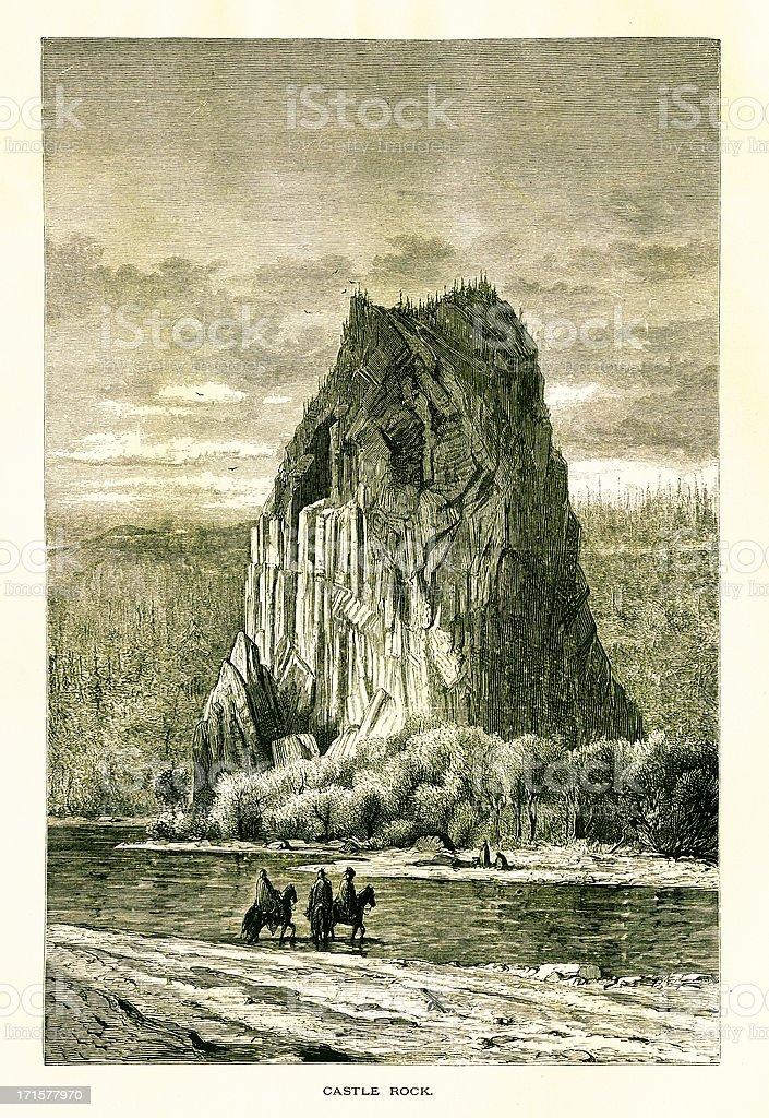 Beacon Rock, Washington, wood engraving (1872) vector art illustration