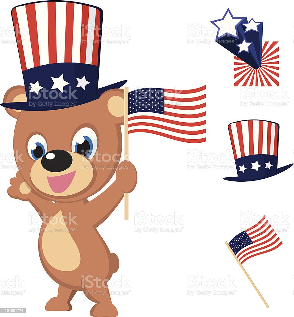 Bear celebrating Independence day royalty-free stock vector art