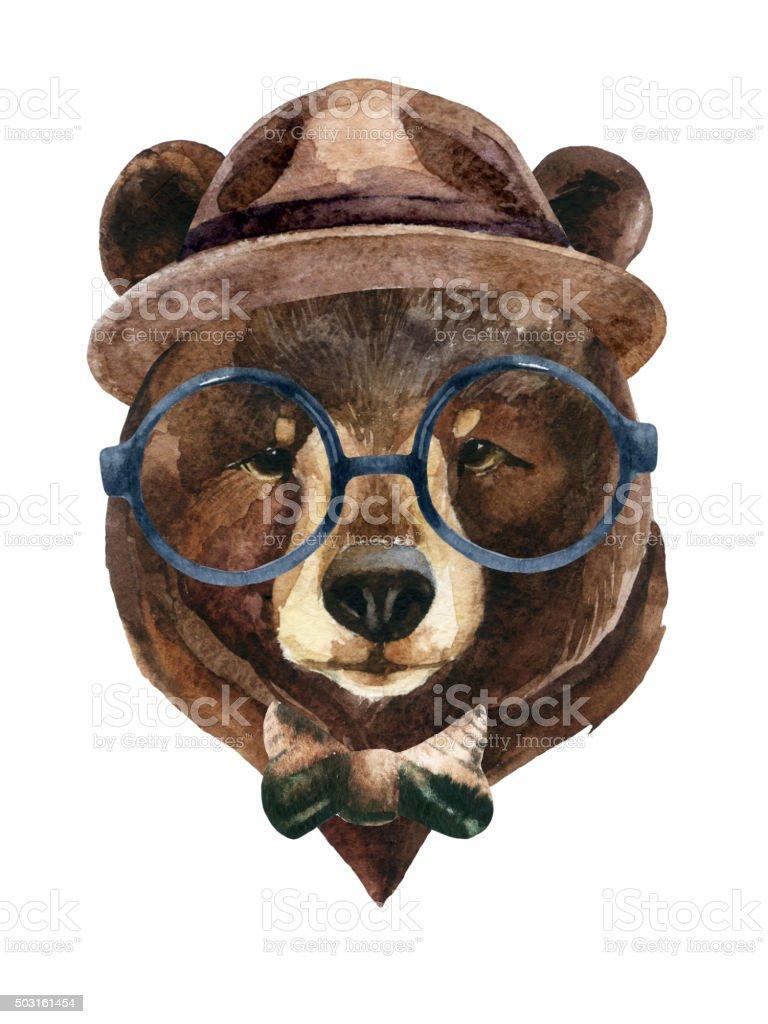 Bear head watercolor vector art illustration