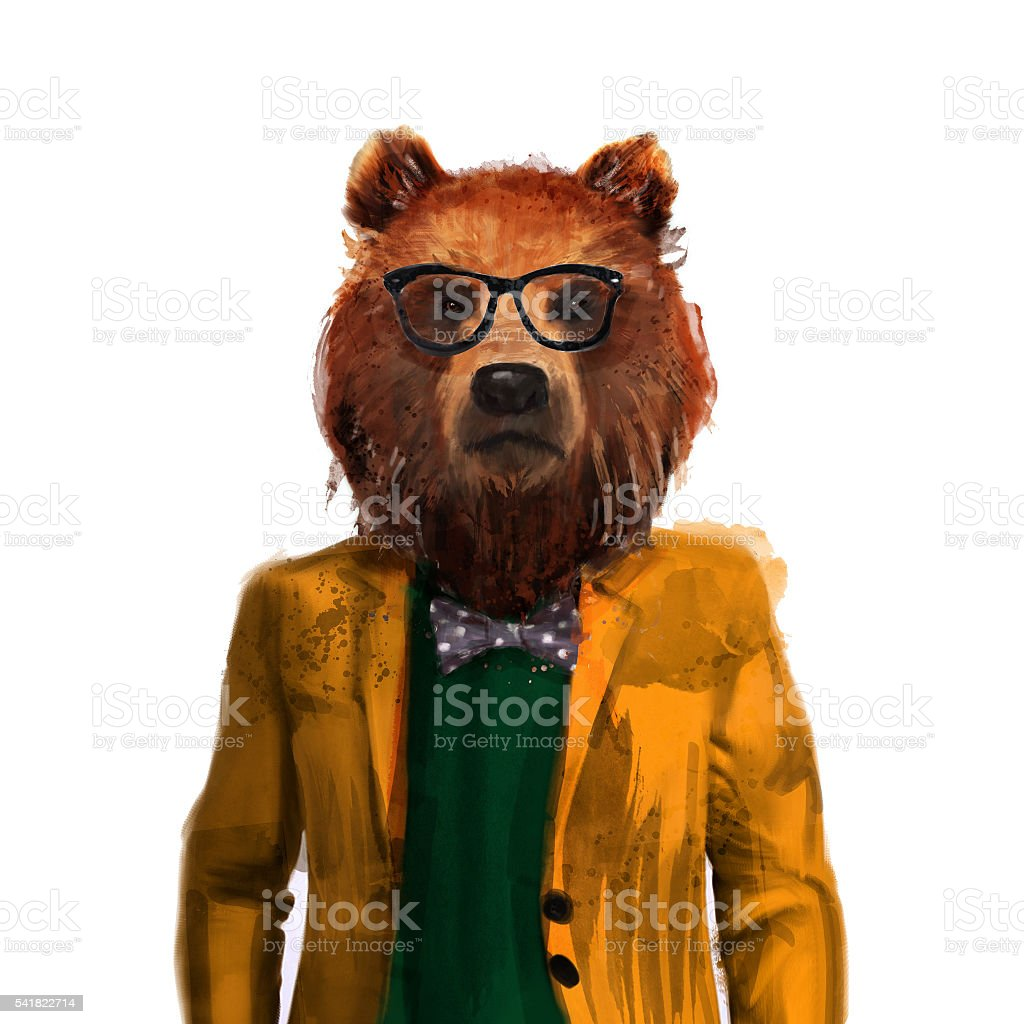 Bear hipster in glasses and a jacket. vector art illustration