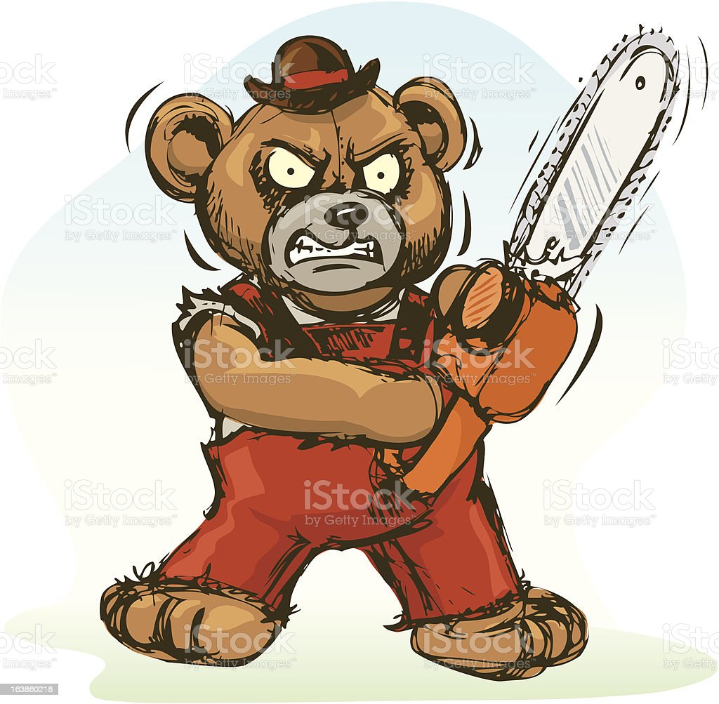 Bear With a Chainsaw vector art illustration