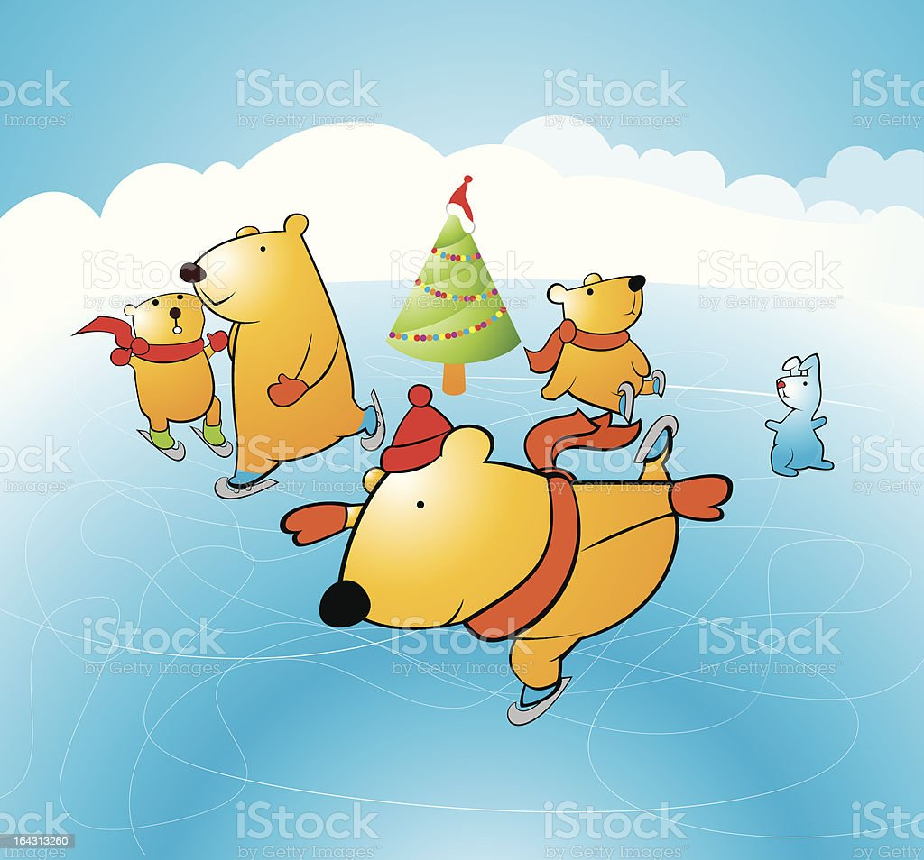 Bears on Ice vector art illustration