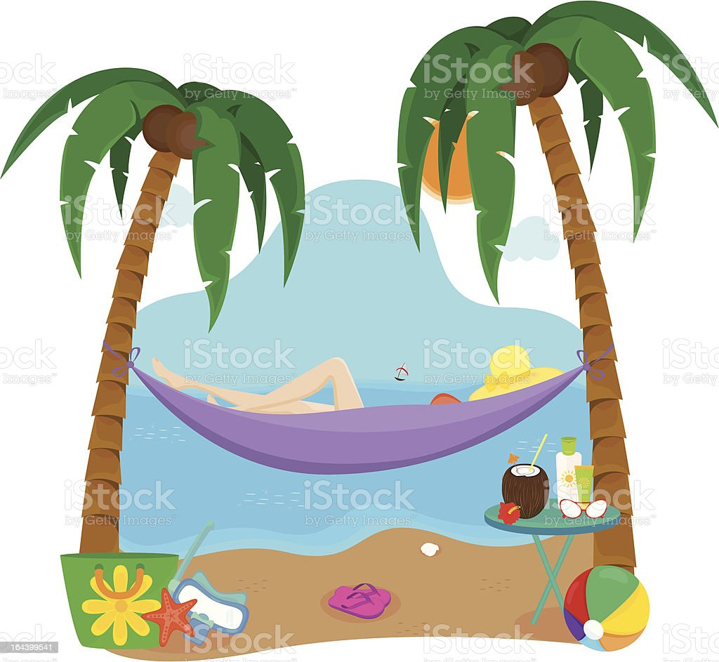 Beatiful girl relaxing on the beach. royalty-free stock vector art