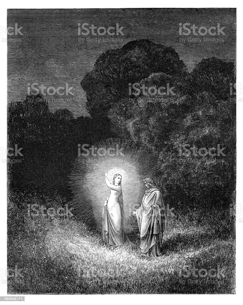 Beatrice and Virgil engraving 1870 vector art illustration