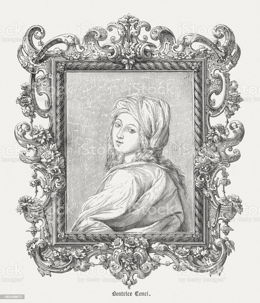 Beatrice Cenci (1577 - 1599), Italian noblewoman, published 1878 vector art illustration
