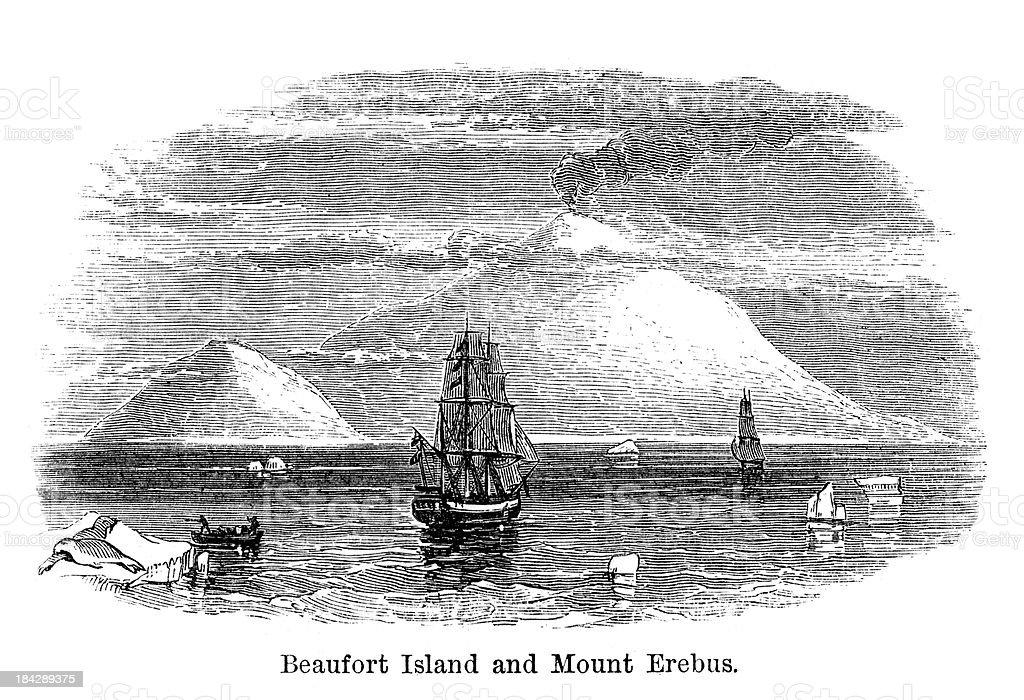 Beaufort Island and Mount Erebus vector art illustration