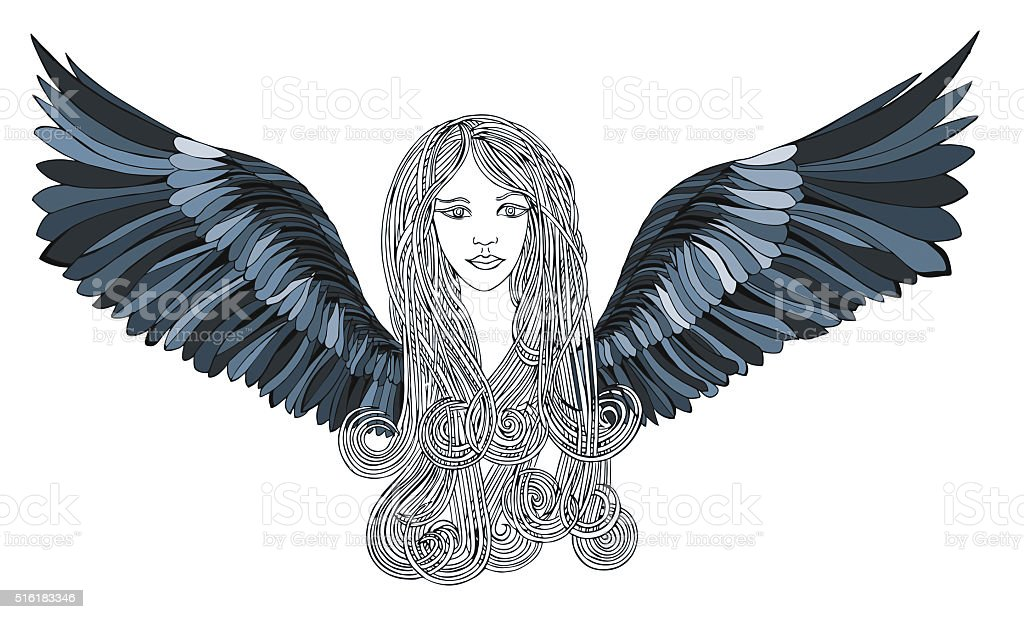 Beautiful Angel with blue wings vector art illustration