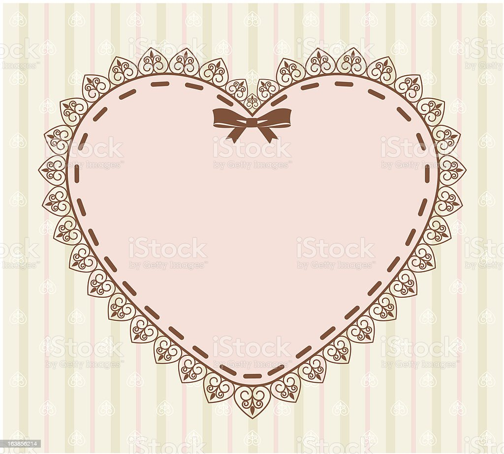 Beautiful background with heart and lace. Vector royalty-free stock vector art