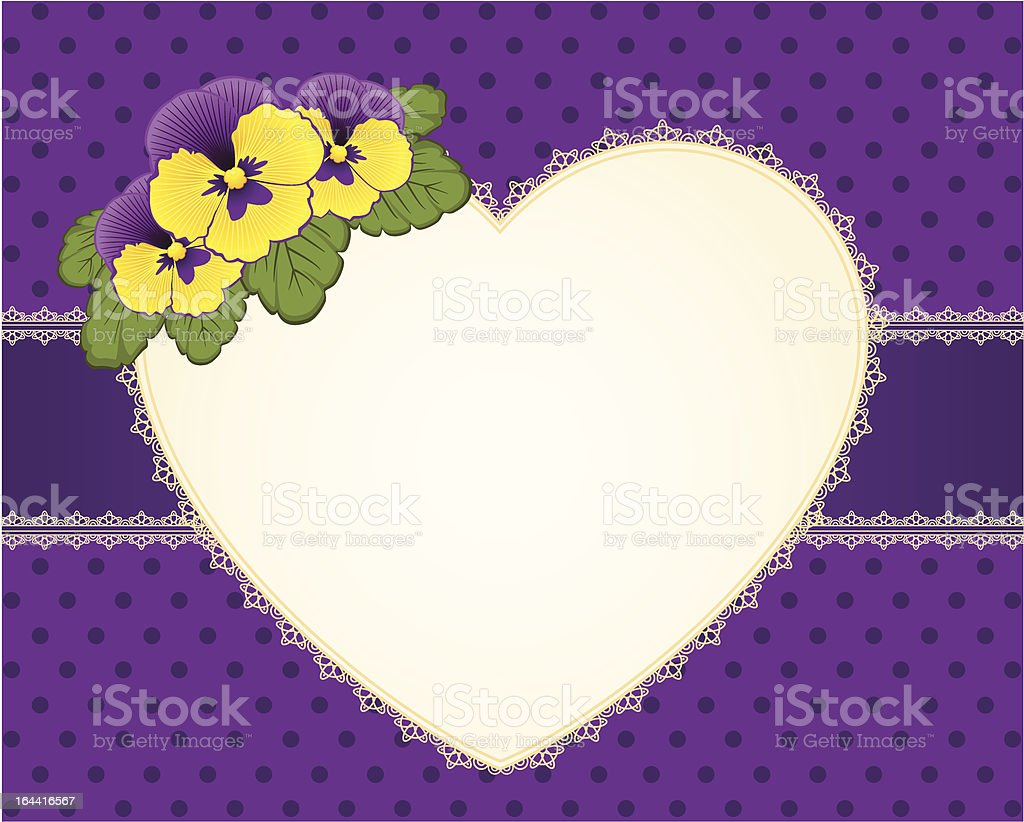Beautiful background with heart and yellow pansy. Vector royalty-free stock vector art