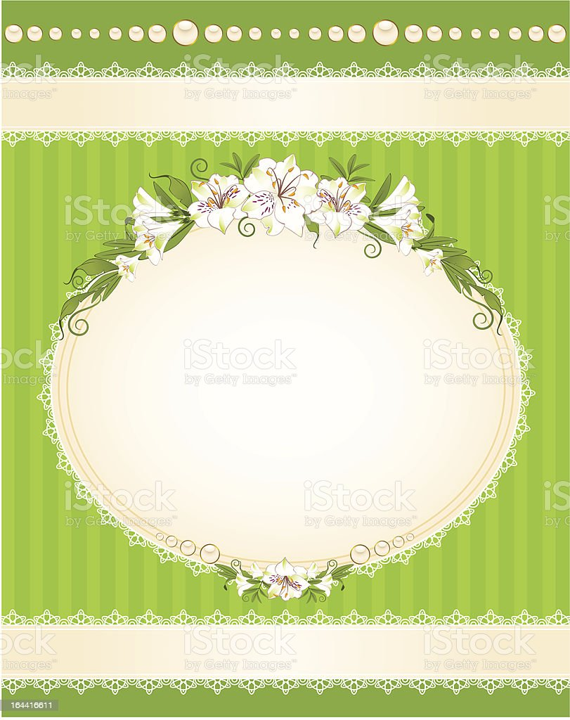 Beautiful background with lace ornaments and flowers royalty-free stock vector art