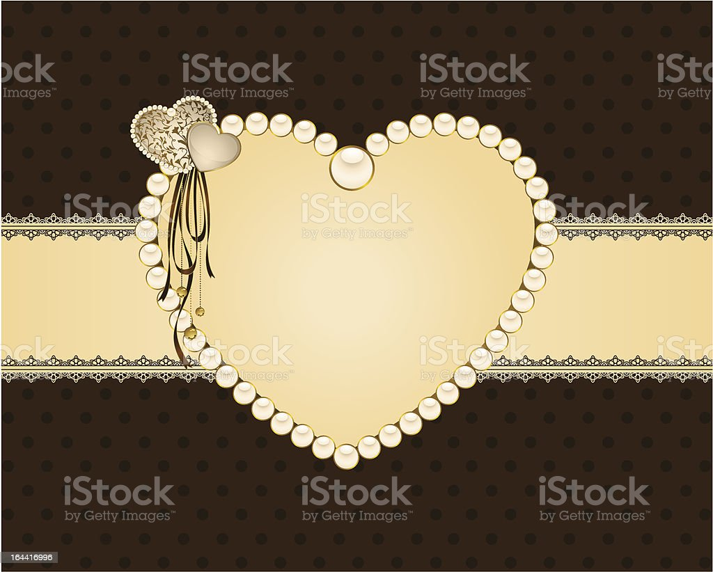 Beautiful background with lace ornaments and heart royalty-free stock vector art