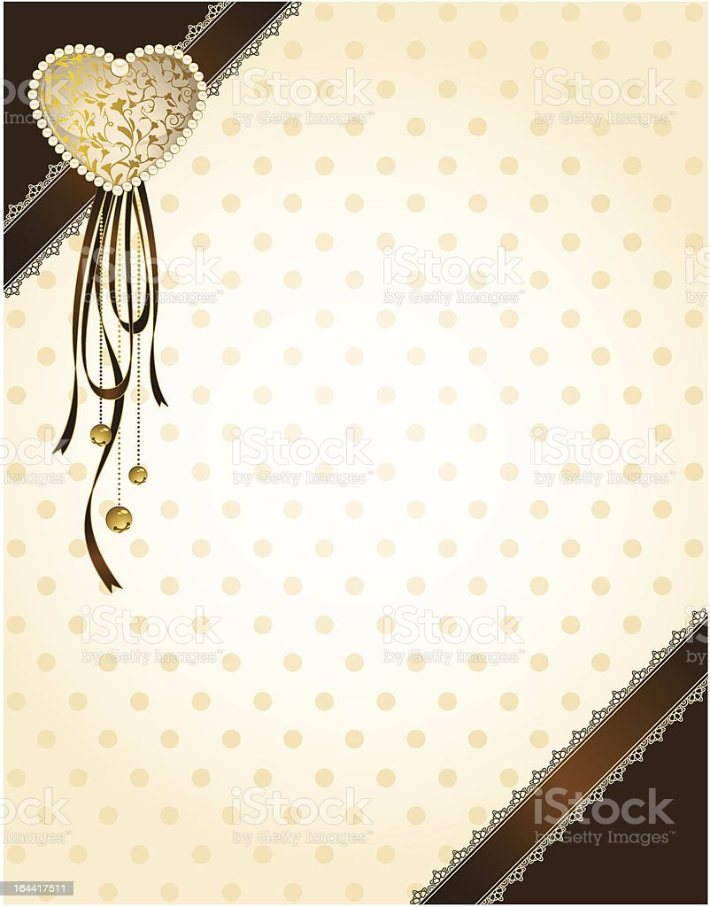 Beautiful background with lace ornaments and heart. Vector royalty-free stock vector art