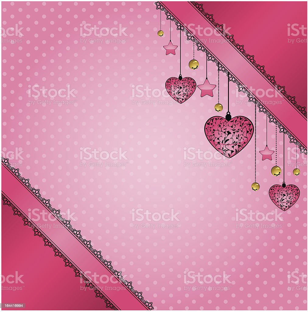 Beautiful background with lace ornaments and hearts royalty-free stock vector art