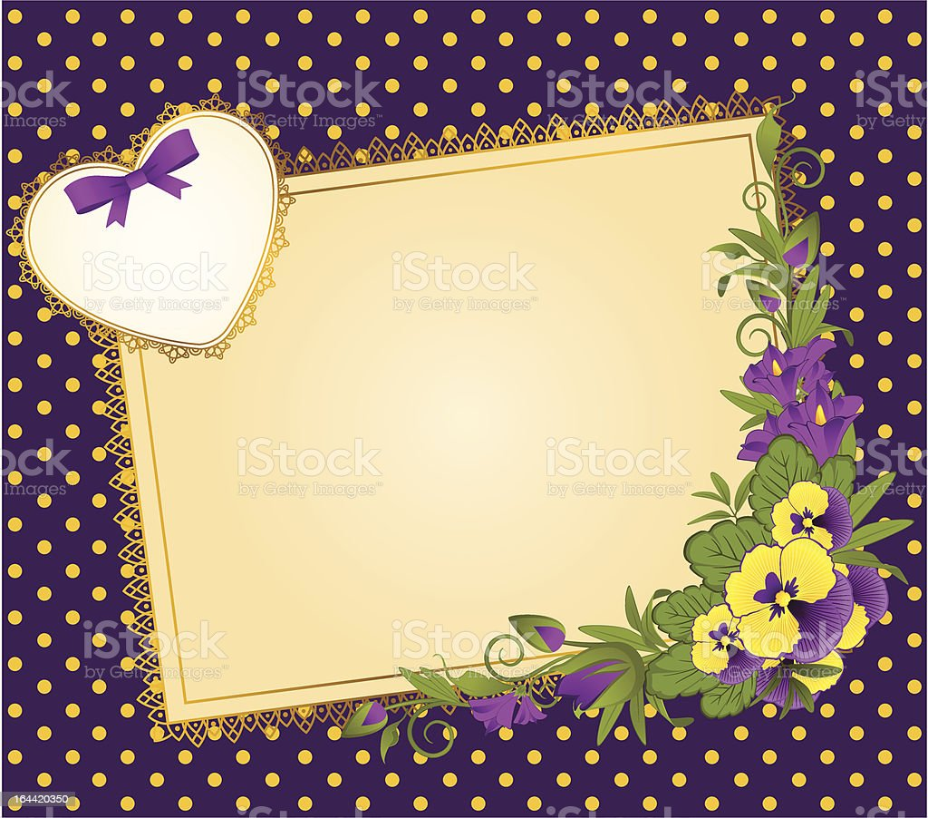 Beautiful background with pansy and Lace. Vector royalty-free stock vector art