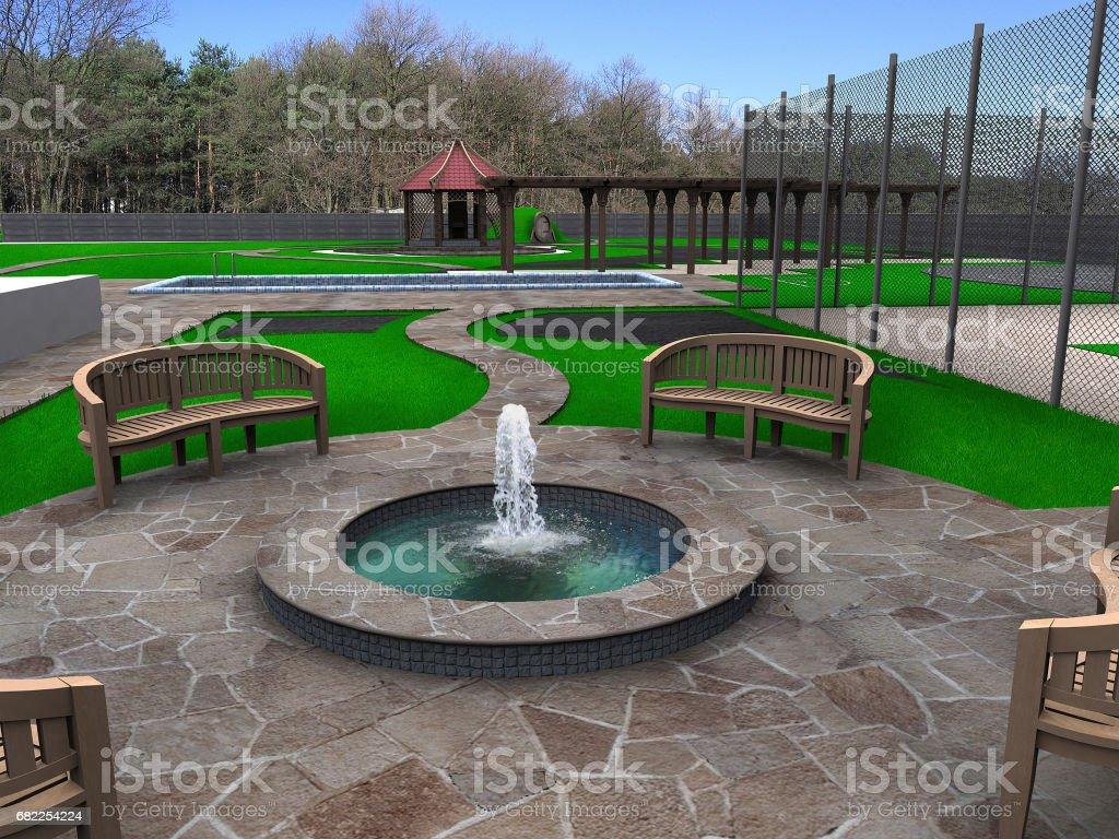 Beautiful backyard makeovers, 3d render vector art illustration