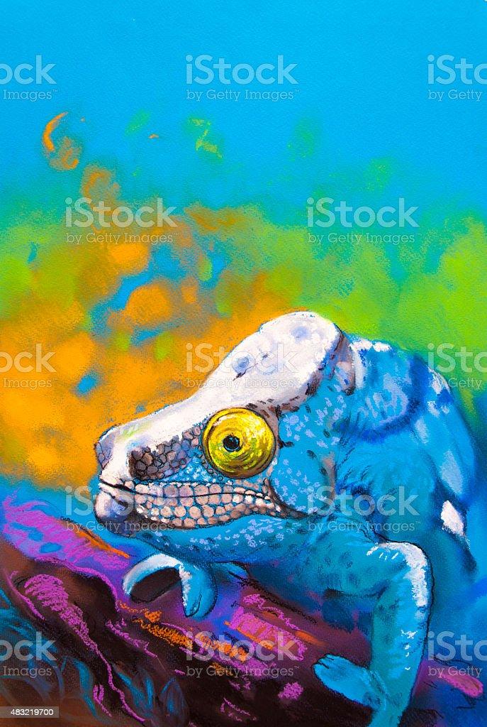 Beautiful blue chameleon hidden in the woods. vector art illustration