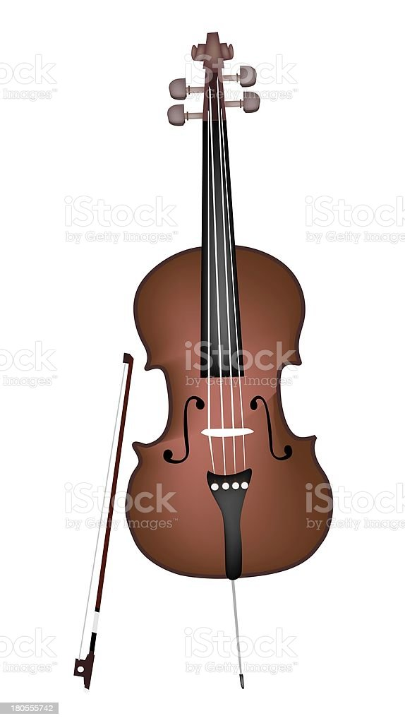 Beautiful Brown Cello on White Background royalty-free stock vector art