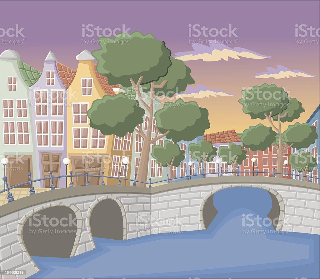 Beautiful buildings in Amsterdam vector art illustration