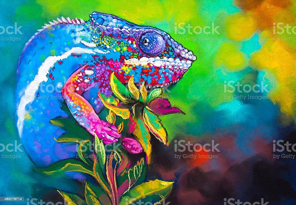 Beautiful chameleon hidden in the woods vector art illustration