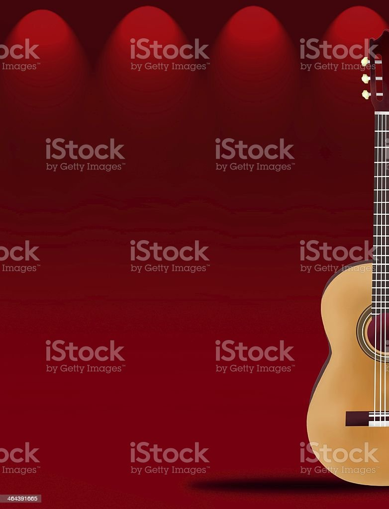 Beautiful Classical Guitar on Red Elegant Theater Stage vector art illustration