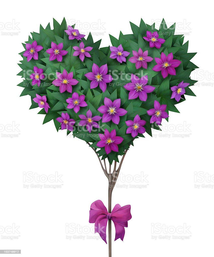 Beautiful crown  tree in shape of heart. royalty-free stock vector art