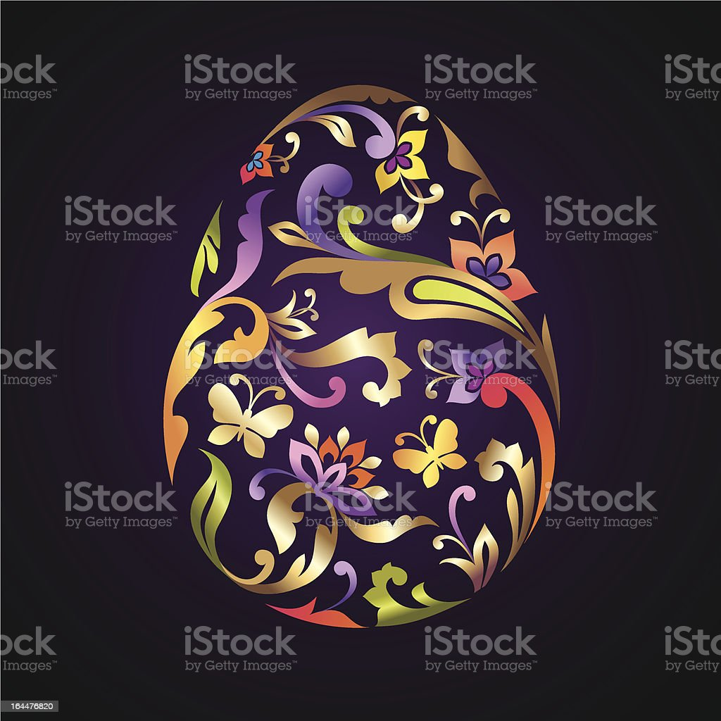 beautiful decorative ornate Easter egg vector art illustration