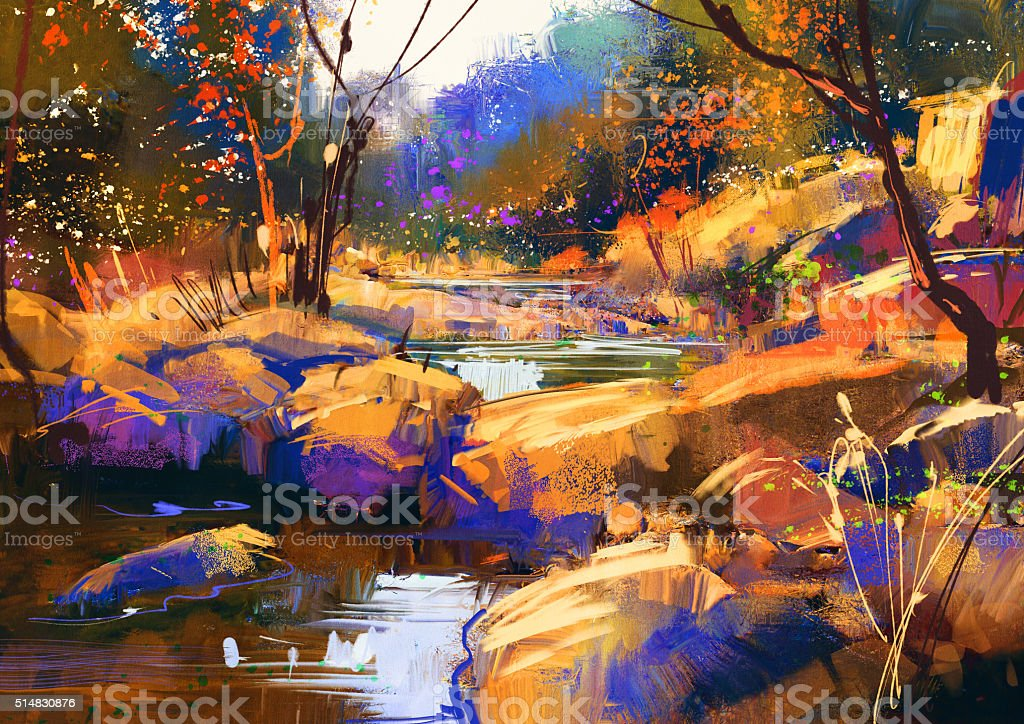 beautiful fall river lines with colorful stones in autumn forest vector art illustration