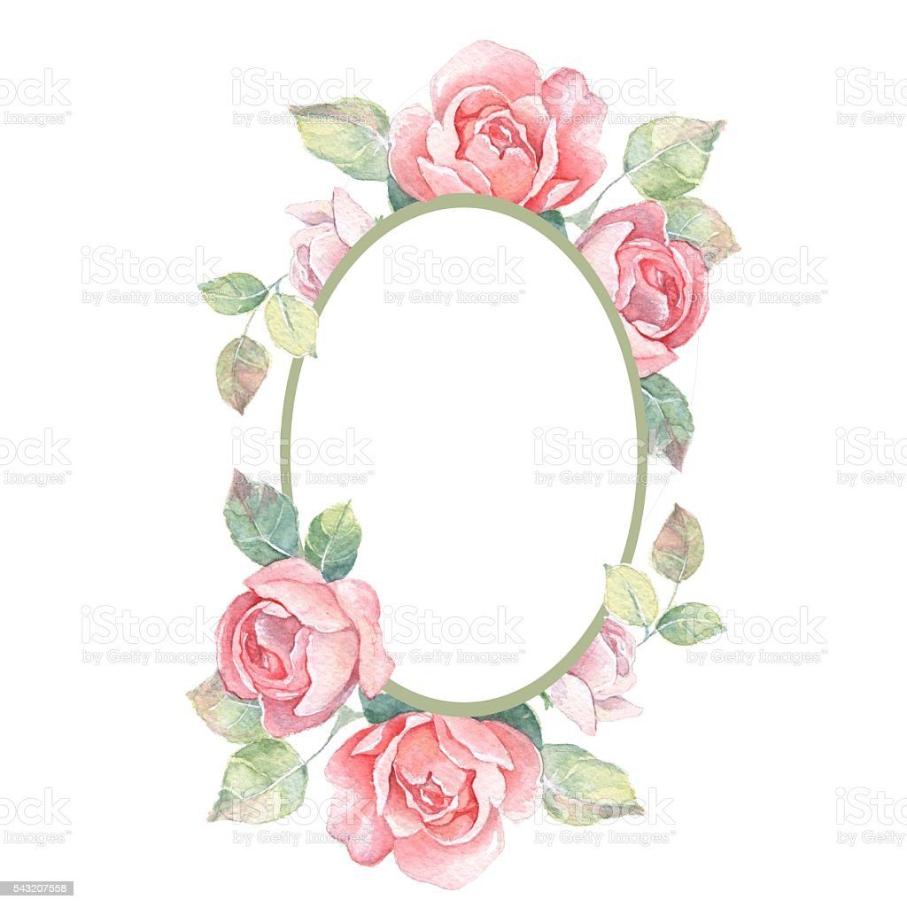 Beautiful floral frame. Watercolor illustration 1 vector art illustration