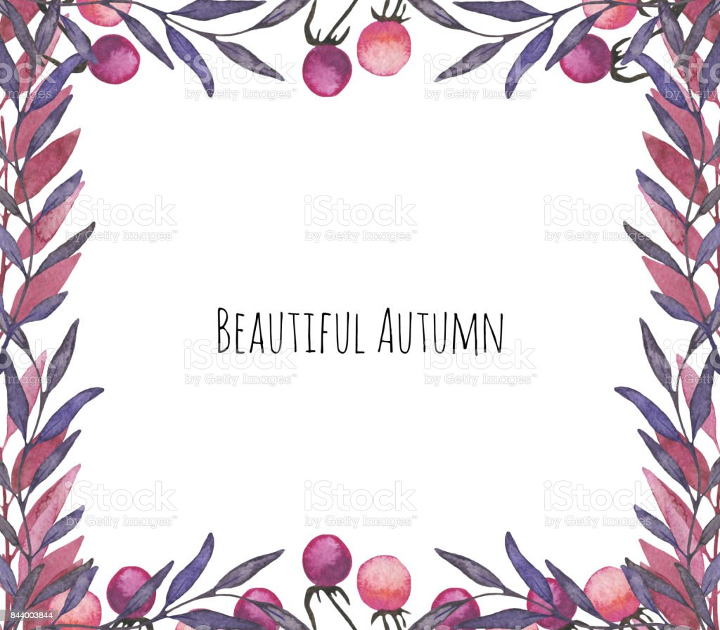 Beautiful frame with autumn leaves and wild berries. Hand drawn watercolor illustration vector art illustration