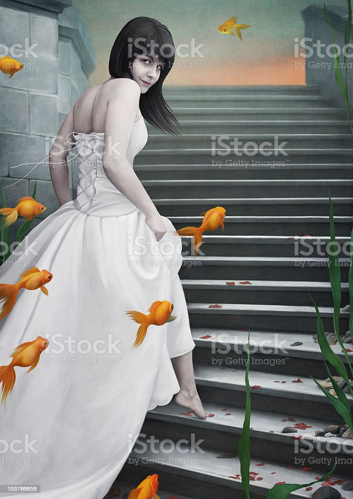 Beautiful  girl  and  goldfish. royalty-free stock vector art