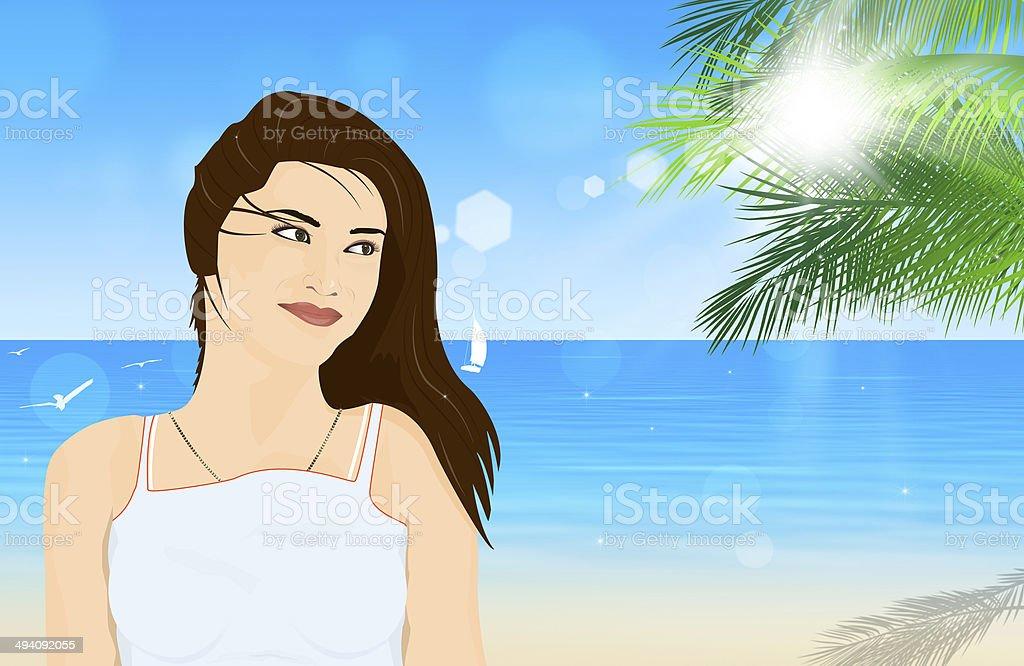 Beautiful Girl at Tropical Beach royalty-free stock vector art