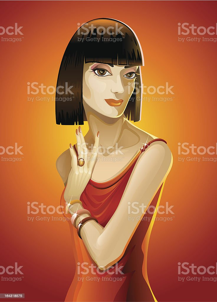 Beautiful girl on orange background vector art illustration