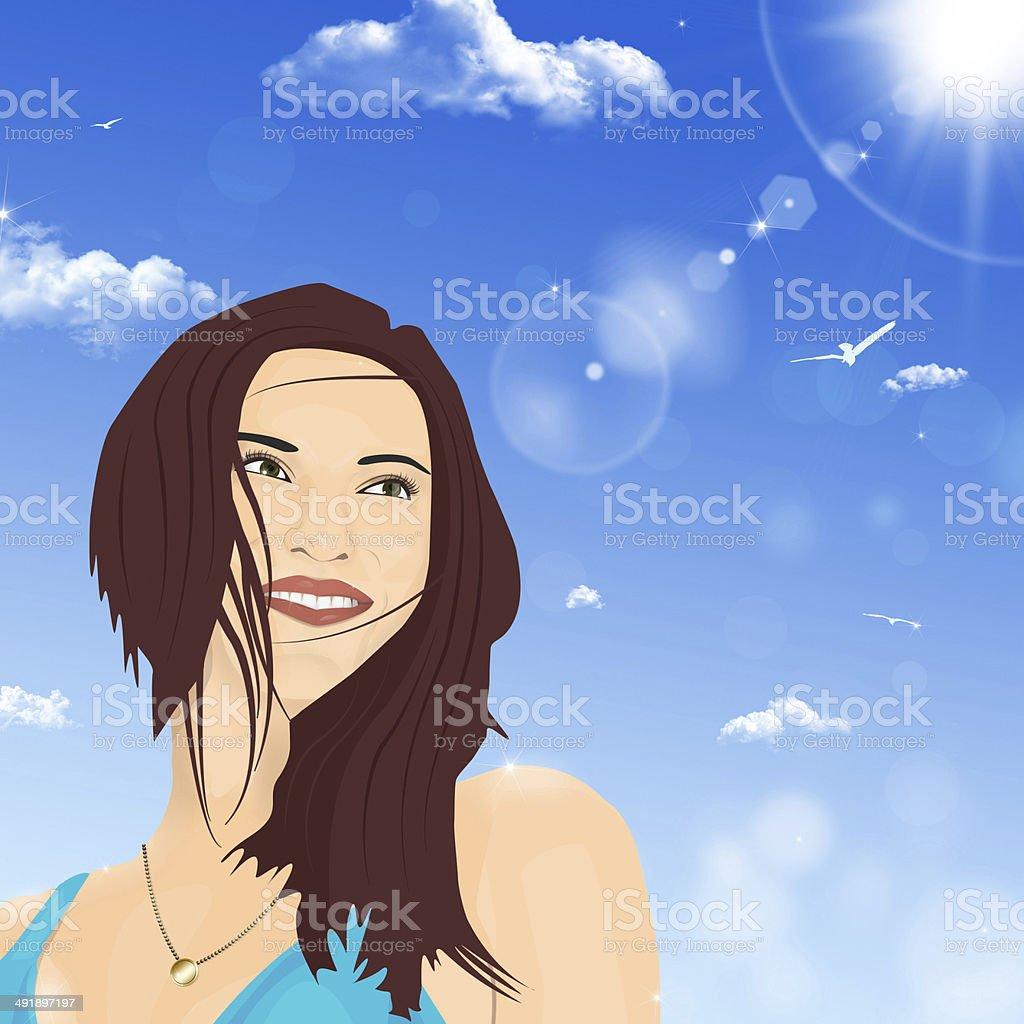Beautiful Girl Smiles royalty-free stock vector art