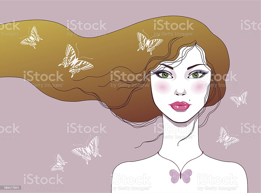 Beautiful girl with butterflies vector art illustration