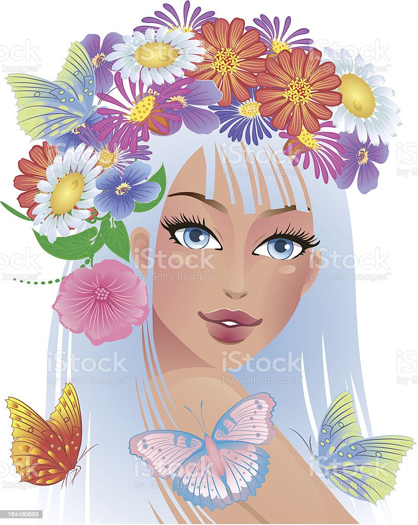 beautiful girl with flowers on her head royalty-free stock vector art
