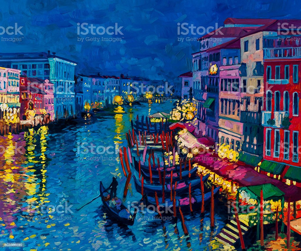 Beautiful gondolas at night. vector art illustration