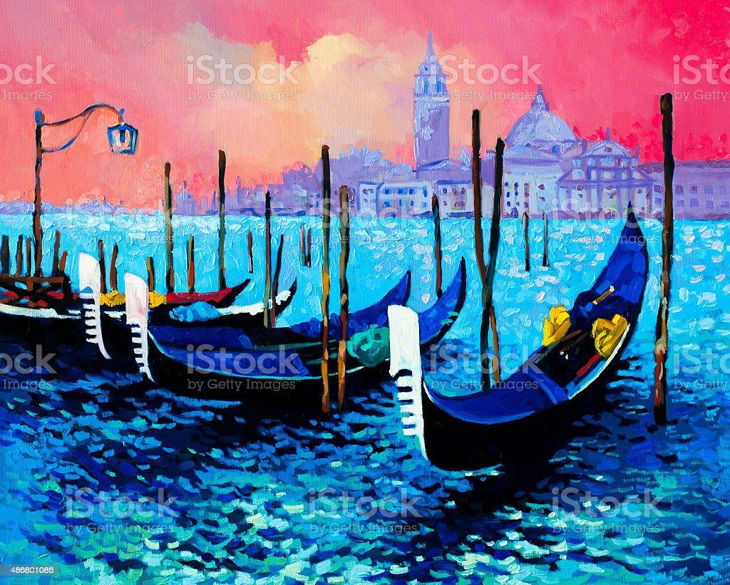 Beautiful gondolas at sunset vector art illustration
