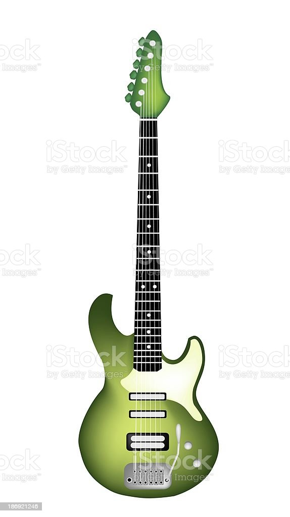 Beautiful Green Electric Guitar on White Background vector art illustration