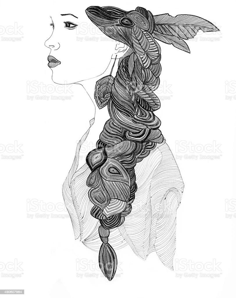 Beautiful Indian woman profile with creative  braid vector art illustration