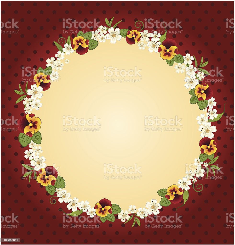 Beautiful lace Background with pansy. Vector royalty-free stock vector art