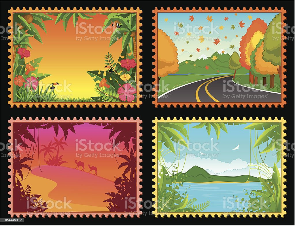 Beautiful Landscape with tropical plants royalty-free stock vector art