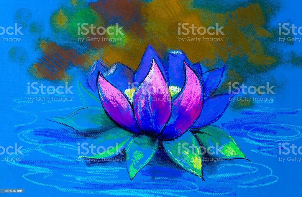 Beautiful lily floating in a gentle blue glow. vector art illustration