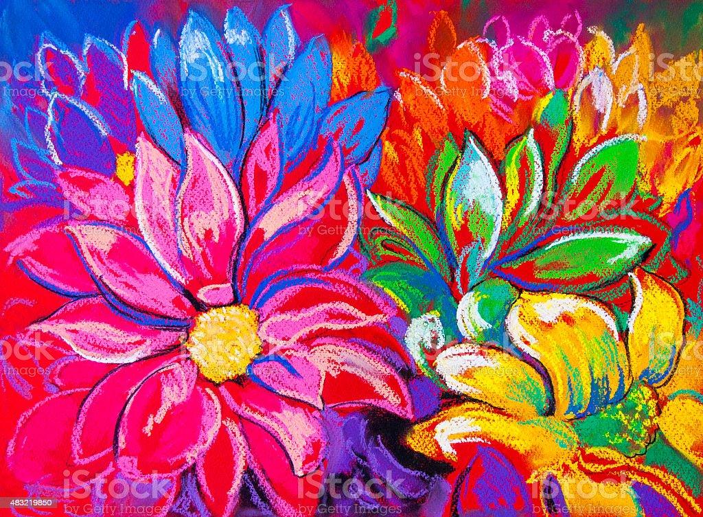 Beautiful modern flowers. vector art illustration