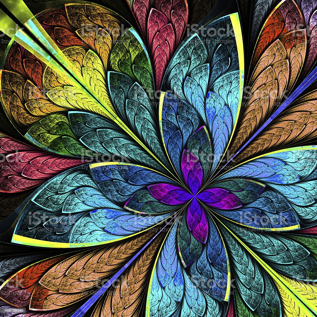 Beautiful multicolor fractal flower. Computer generated graphics vector art illustration