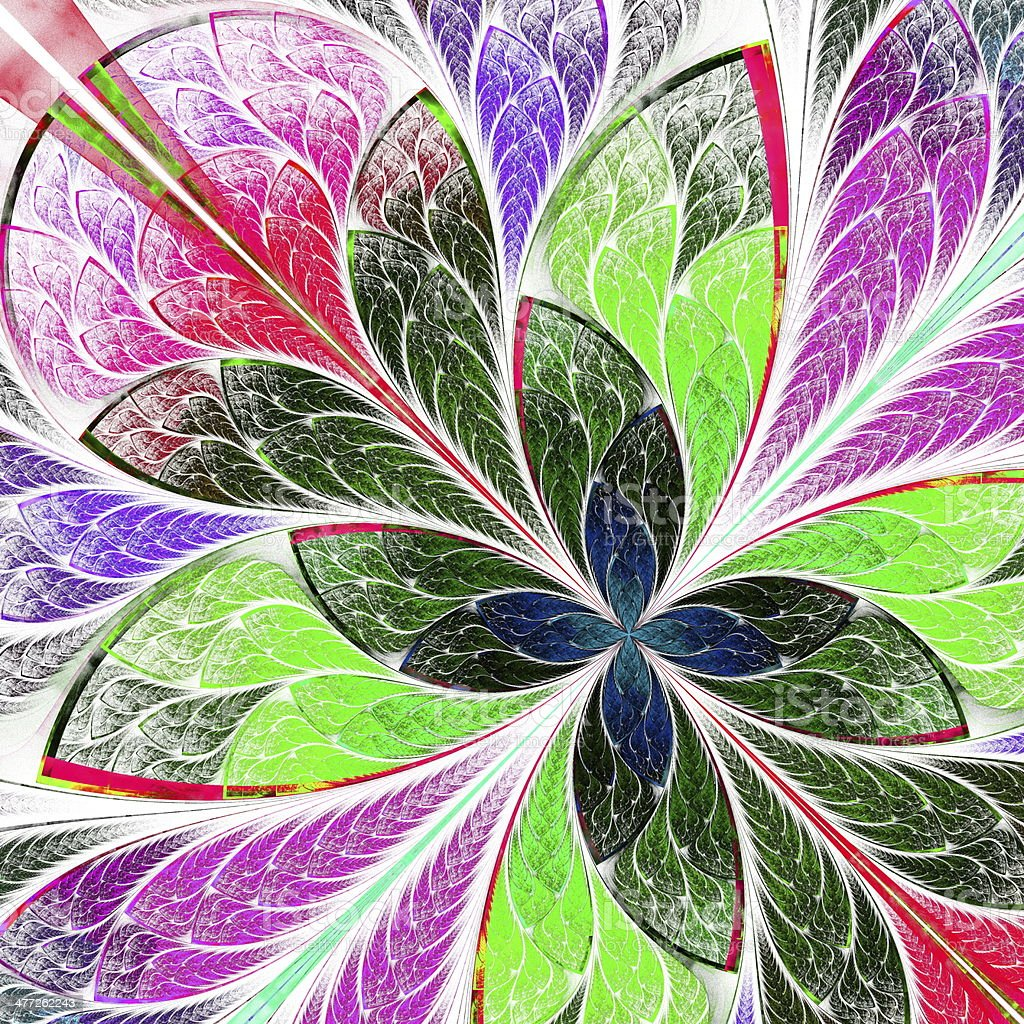 Beautiful multicolor fractal flower in stained glass style royalty-free stock vector art