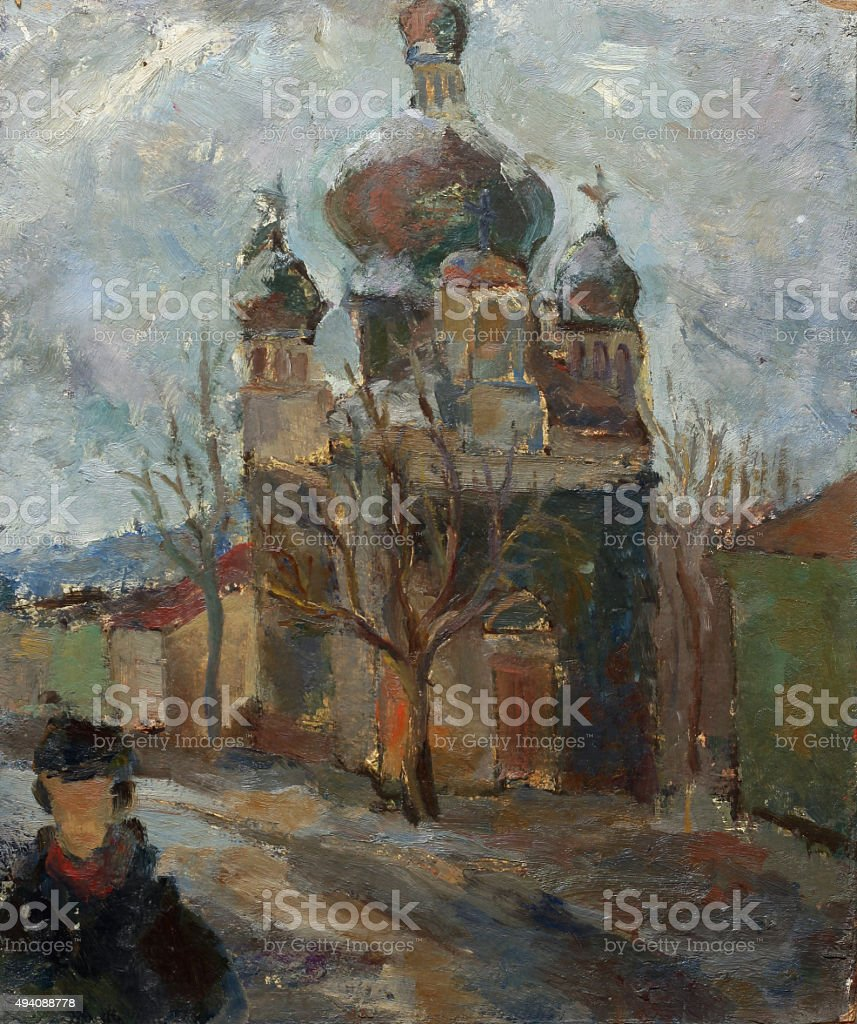 Beautiful Original Oil Painting Landscape On Canvas royalty-free stock vector art