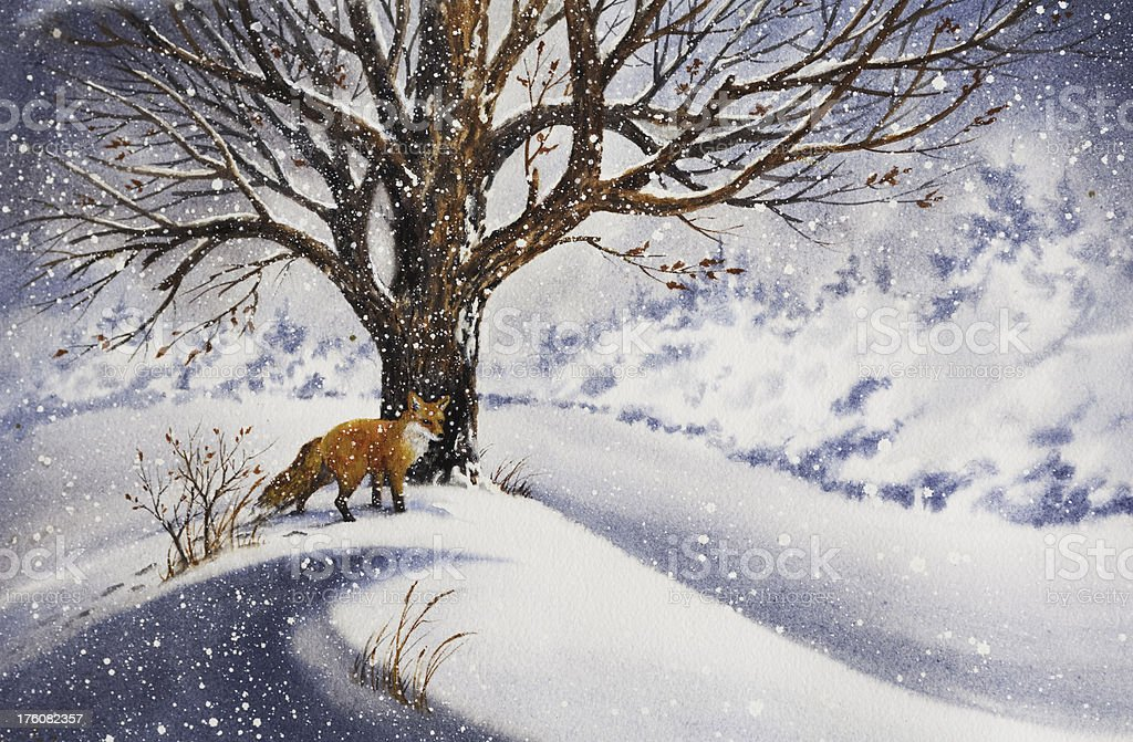 A beautiful painting of a red fox beside a tree in the snow royalty-free stock vector art