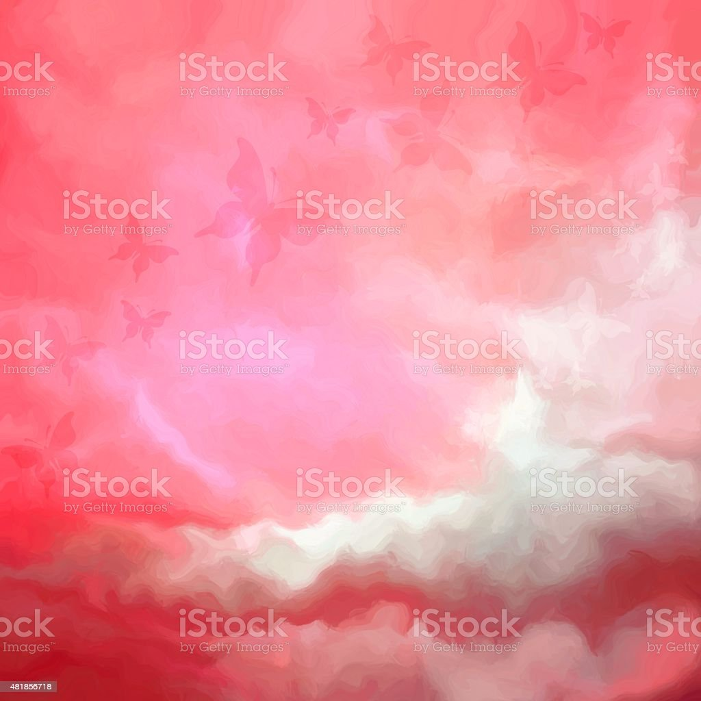 Beautiful red sky drawing with butterflies vector art illustration