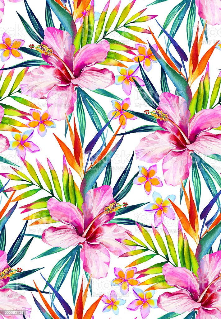 beautiful seamless pattern with hibiscus, frangipani and palm leaves. vector art illustration
